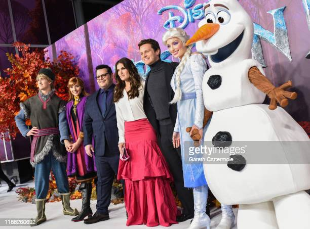 Josh Gad Idina Menzel and Jonathan Groff with Frozen characters at the European Premiere of Disney's Frozen 2 on November 17 2019 in London England