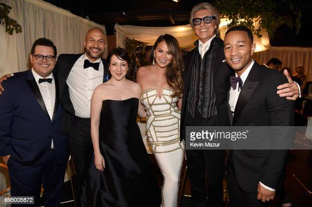 Josh Gad KeeganMichael Key Elisa Pugliese Chrissy Teigen Tommy Tune and John Legend attend the 2017 Tony Awards at Radio City Music Hall on June 11...