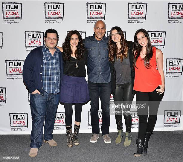 Josh Gad Michaela Watkins Keegan Michael Key Lake Bell and Catherine Reitman attend the Film Independent at LACMA Live Read of Sideways at Bing...
