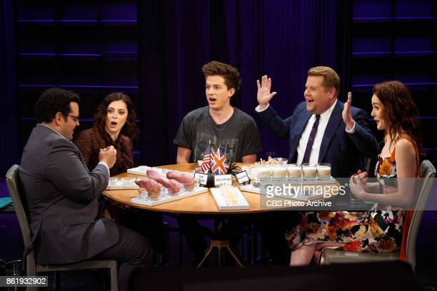 Josh Gad Rachel Bloom Charlie Puth James Corden and Michelle Dockery play Spill Your Guts or Fill Your Guts during The Late Late Show with James...