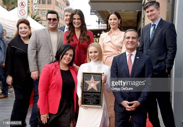 Josh Gad Rana Ghadban Idina Menzel Kristen Bell Jackie Tohn Mayor Eric Garcetti and Michael Schur pose as Kristen Bell And Idina Menzel Are Honored...