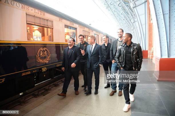 Josh Gad Tom Bateman Kenneth Branagh Sergei Polunin Manuel Garc'aRulfo and Leslie Odom attend the Murder on the Orient Express photo call at St...