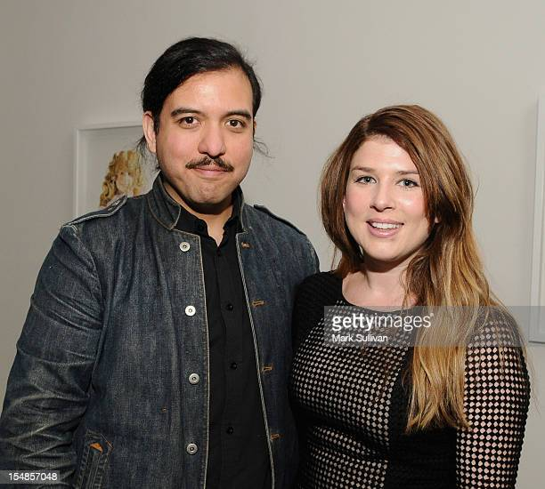 Josh Garza and Jessie Cohen during the opening reception for Diane MarshallGreen's Lolitas at America Martin Gallery on October 27 2012 in Los...