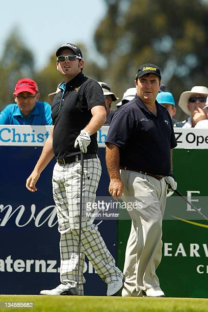 Josh Geary of New Zealand and Craig Parry of Australia during day three of the New Zealand Open at Clearwater Golf Course on December 3, 2011 in...