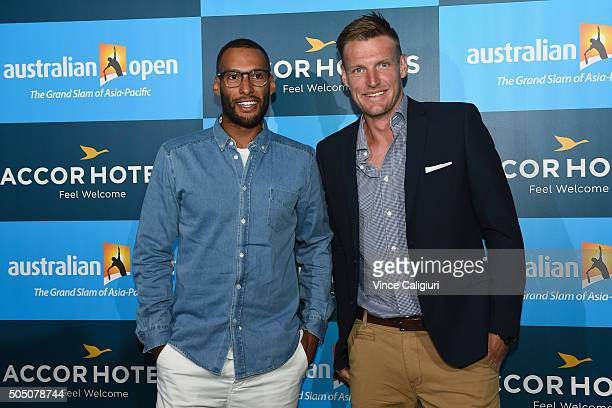 Josh Gibson AFL footballer with Hawthorn poses with Sam Groth at the 2016 Australian Open Players Party at Club Sofitel Lounge on January 15 2016 in...