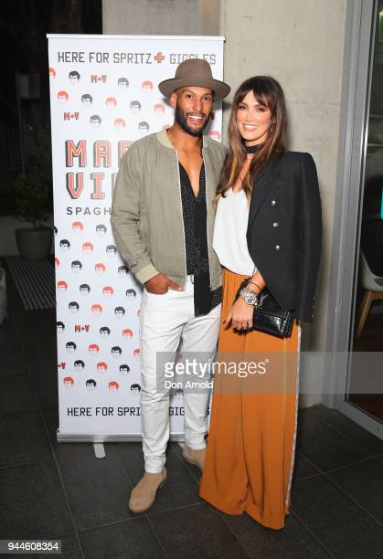 Josh Gibson and Delta Goodrem attend the Mark Vinny's Media Launch on April 11 2018 in Sydney Australia