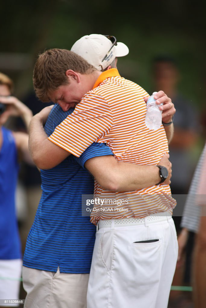 Josh Gibson of Hope College celebrates after winning the individual title during the Division III Men's Golf Championship held at the Mission Inn Resort and Club on May 19, 2017 in Howey In The Hills, Florida. Gibson won the individual title with a -1 score.