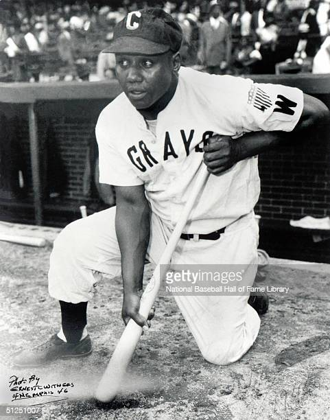 Josh Gibson of the Homestead Grays poses with his bat as he waits ondeck during a season game Josh Gibson played for the Homestead Grays of the Negro...