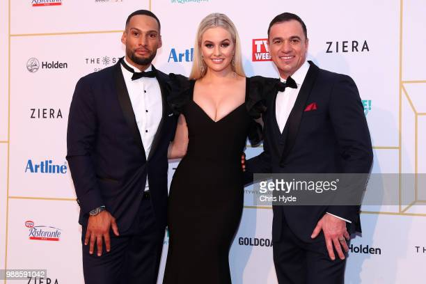 Josh Gibson Simone Holtznagel and Shannon Noll arrive at the 60th Annual Logie Awards at The Star Gold Coast on July 1 2018 in Gold Coast Australia