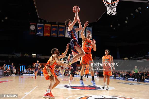 Josh Giddey of the Adelaide 36ers shoots during the round 16 NBL match between the Adelaide 36ers and Cairns Taipans at Adelaide Entertainment...