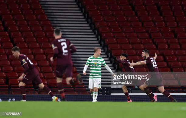 Josh Ginnelly of Heart of Midlothian celebrates after scoring their sides third goal in extra time during the William Hill Scottish Cup final match...