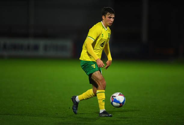 Josh Giurgi of Norwich City Under 21's during the EFL Trophy match between Cheltenham Town and Norwich Citu U21 at the Jonny Rocks Stadium on...