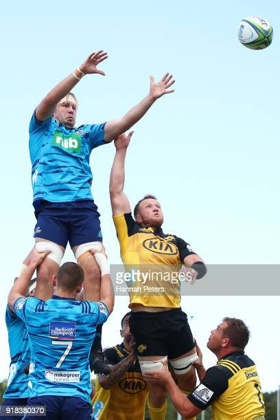 Josh Goodhue of the Blues competes in the lineout against Gareth Evans of the Hurricanes during the Super Rugby trial match between the Blues and the...