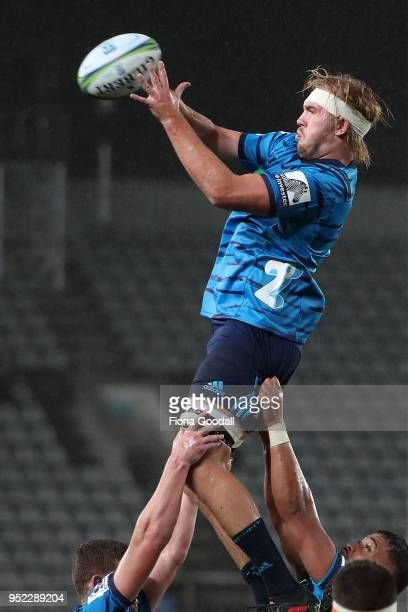 Josh Goodhue of the Blues in the lineout during the Super Rugby round 11 match between the Blues and Jaguares at Eden Park on April 28 2018 in...