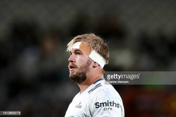 Josh Goodhue of the Blues looks on during the round eight Super Rugby Aotearoa match between the Highlanders and the Blues at Forsyth Barr Stadium,...
