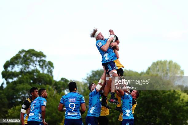 Josh Goodhue of the Blues wins lineout ball during the Super Rugby trial match between the Blues and the Hurricanes at Mahurangi Rugby Club on...