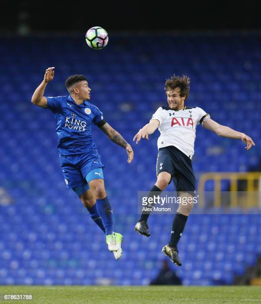 Josh Gordon of Leicester and Filip Lesniak of Tottenham during the Premier League 2 match between Tottenham Hotspur and Leicester City at White Hart...
