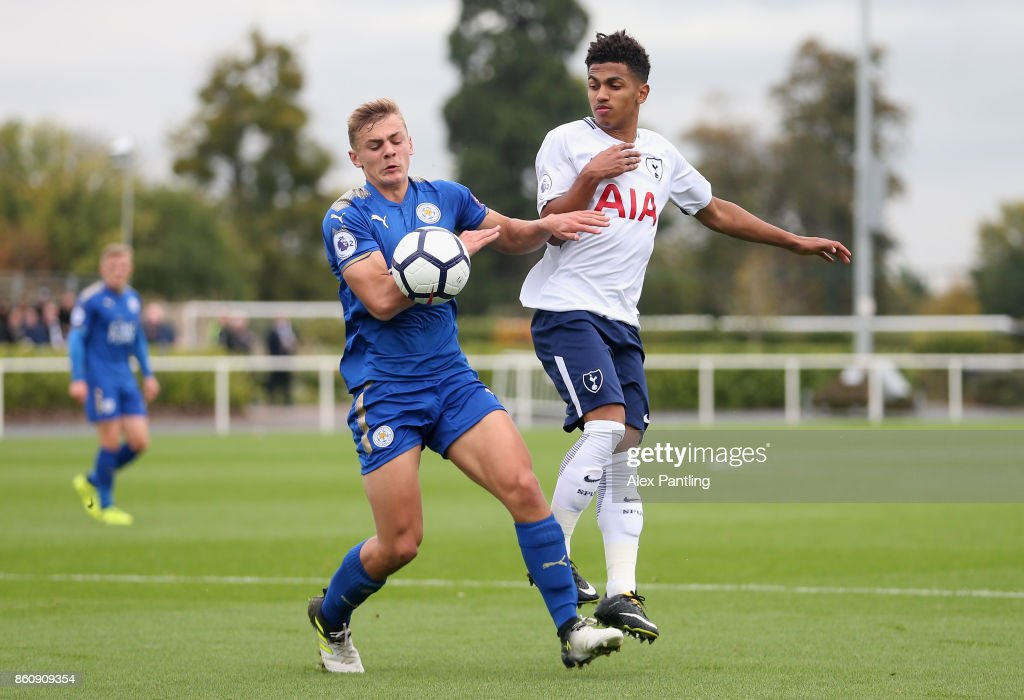 Josh Gordon of Leicester City and Marcus Edwards of Tottenham Hotspur clash during the Premier League 2 match between Tottenham Hotspur and Leicester City at Enfield Training Centre on October 13, 2017 in Enfield, England.