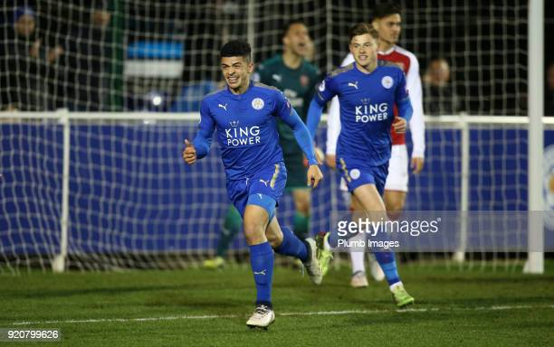 Josh Gordon of Leicester City celebrates after scoring to make it 10 during the Premier League 2 match between Leicester City and Arsenal at Holmes...