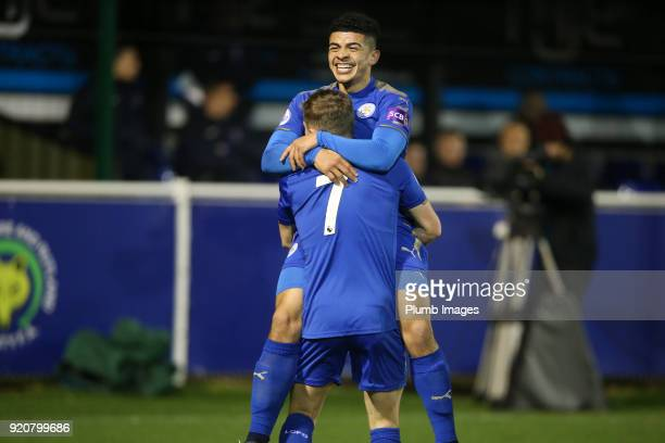Josh Gordon of Leicester City celebrates with George Thomas of Leicester City after scoring to make it 10 during the Premier League 2 match between...