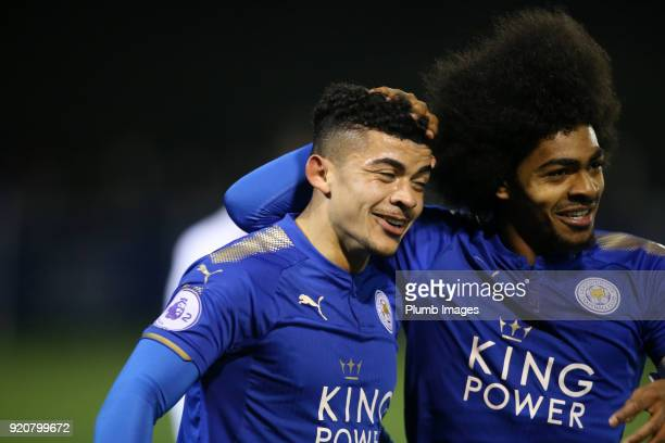 Josh Gordon of Leicester City celebrates with Hamza Choudhury of Leicester City after scoring to make it 10 during the Premier League 2 match between...