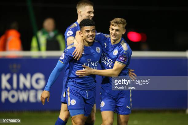 Josh Gordon of Leicester City celebrates with Kiernan DewsburyHall of Leicester City after scoring to make it 10 during the Premier League 2 match...