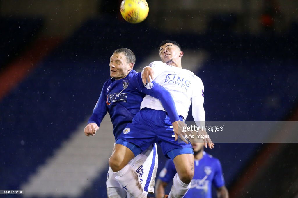 Josh Gordon of Leicester City in action with Brian Wilson of Oldham Athletic during the Checkatrade Trophy tie between Oldham Athletic and Leicester City at Boundary Park, on January 17th, 2018 in Oldham, United Kingdom