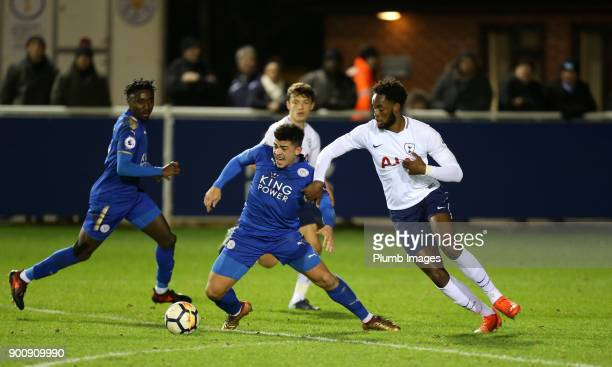 Josh Gordon of Leicester City in action with Christian Maghoma of Tottenham Hotspur during the Premier League 2 match between Leicester City and...