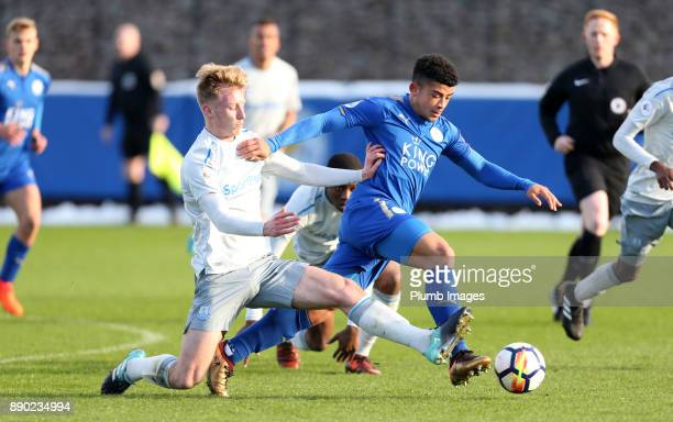 Josh Gordon of Leicester City in action with Harry Charsley of Everton during the Premier League 2 match between Leicester City and Everton at...