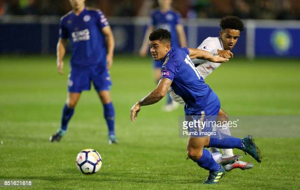 Josh Gordon of Leicester City in action with Jacob Maddox of Chelsea during the Premier League 2 match between Leicester City and Chelsea at Holmes...