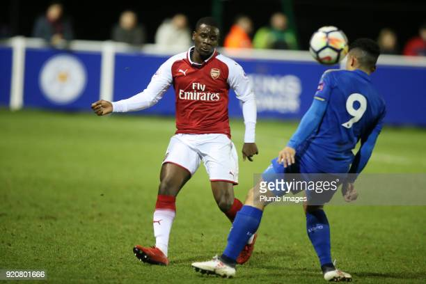 Josh Gordon of Leicester City in action with Jordi OseiTutu of Arsenal during the Premier League 2 match between Leicester City and Arsenal at Holmes...