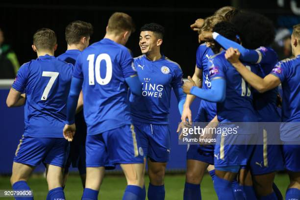 Josh Gordon of Leicester City is surrounded by his team after scoring to make it 10 during the Premier League 2 match between Leicester City and...