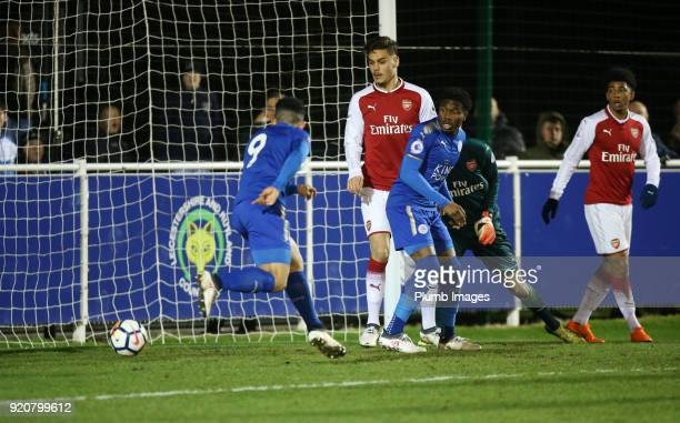 Josh Gordon of Leicester City scores to make it 10 during the Premier League 2 match between Leicester City and Arsenal at Holmes Park on February...