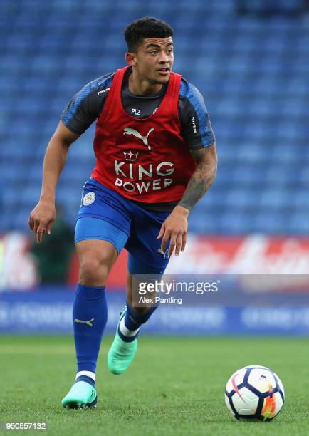 Josh Gordon of Leicester City warms up prior to the Premier league 2 match between Leicester City and Derby County at King Power Stadium on April 23...