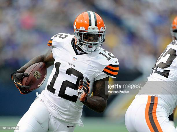 Josh Gordon of the Cleveland Browns carries the football during the game against the Minnesota Vikings on September 22 2013 at Mall of America Field...