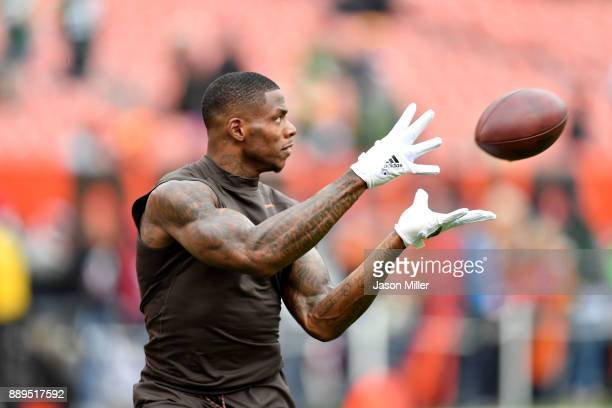 Josh Gordon of the Cleveland Browns catches a ball durning warmups before the game against against the Green Bay Packers at FirstEnergy Stadium on...