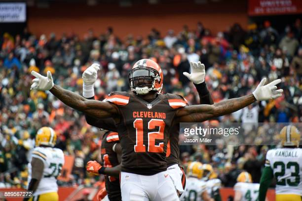 Josh Gordon of the Cleveland Browns celebrates a touchdown in the first quarter against the Green Bay Packers at FirstEnergy Stadium on December 10...
