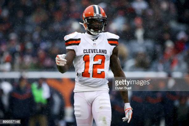 Josh Gordon of the Cleveland Browns lines up for a play in the third quarter against the Chicago Bears at Solider Field on December 24 2017 in...