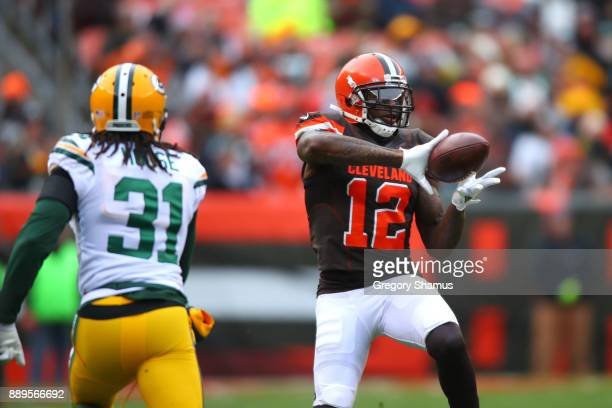 Josh Gordon of the Cleveland Browns makes catch in the first quarter against the Green Bay Packers at FirstEnergy Stadium on December 10 2017 in...