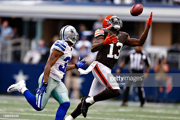Josh Gordon of the Cleveland Browns miss a pass during a game against the Dallas Cowboys at Cowboys Stadium on November 18 2012 in Arlington Texas