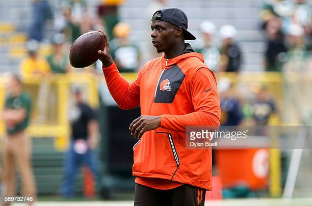 Josh Gordon of the Cleveland Browns participates in warm ups before the game against the Green Bay Packers at Lambeau Field on August 12 2016 in...