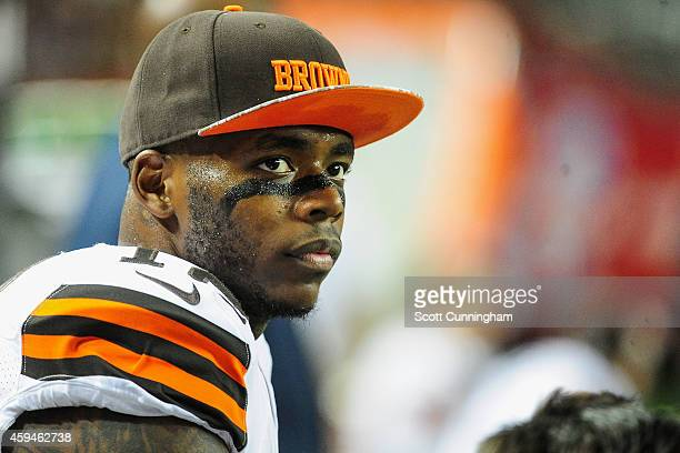 Josh Gordon of the Cleveland Browns stands on the sideliens in the first half against the Atlanta Falcons at Georgia Dome on November 23 2014 in...