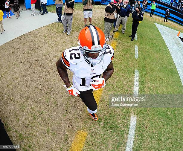 Josh Gordon of the Cleveland Browns takes the field before the game against the Carolina Panthers on December 21 2014 at Bank of America Stadium in...