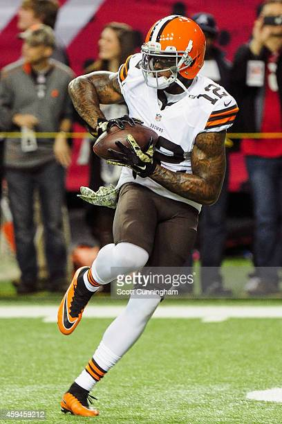 Josh Gordon of the Cleveland Browns warms up prior to the game against the Atlanta Falcons at Georgia Dome on November 23 2014 in Atlanta Georgia