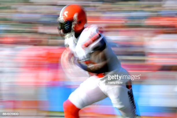 Josh Gordon of the Cleveland Browns warms up prior to the game against the Los Angeles Chargers at StubHub Center on December 3 2017 in Carson...