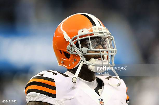 Josh Gordon of the Cleveland Browns warms up prior to the start of the preseason game against the Detroit Lions at Ford Field on August 9 2014 in...