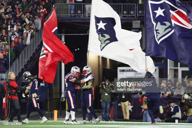 Josh Gordon of the New England Patriots celebrates after scoring a 55yard receiving touchdown during the fourth quarter against the Green Bay Packers...