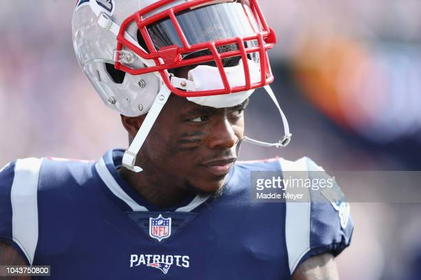 Josh Gordon of the New England Patriots looks on during the first half against the Miami Dolphins at Gillette Stadium on September 30 2018 in...