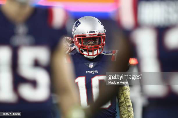 Josh Gordon of the New England Patriots reacts after scoring a 55yard receiving touchdown during the fourth quarter against the Green Bay Packers at...