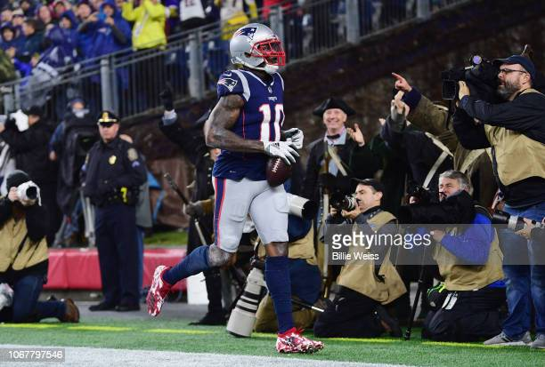 Josh Gordon of the New England Patriots reacts after scoring a touchdown during the third quarter against the Minnesota Vikings at Gillette Stadium...